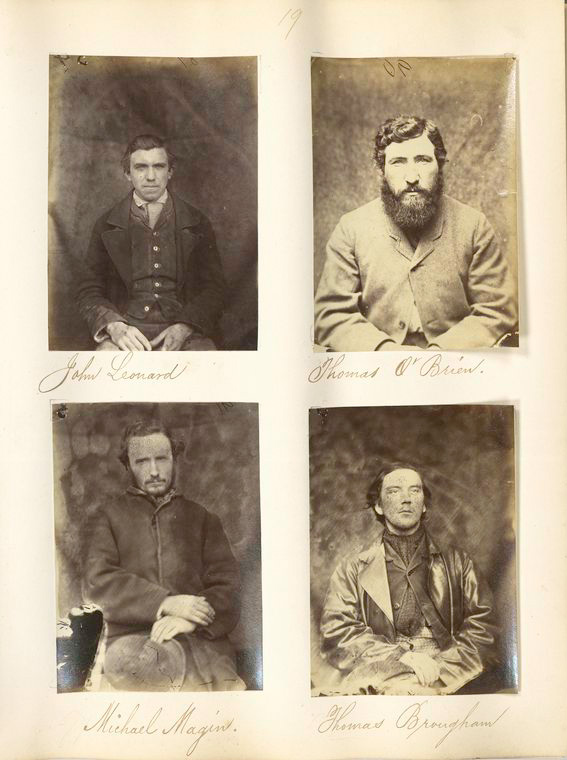 Mugshots of Fenians taken in Mountjoy Prison in 1866. The Fenians were some of the first people in Ireland to have mugshots taken, as it was a relatively new practice at the time (New York Public Library)