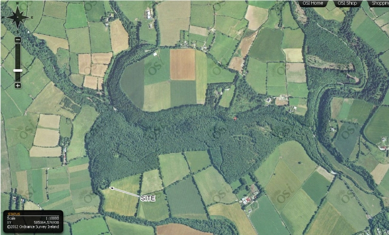 Aerial view of the enclosure in Curragh Woods