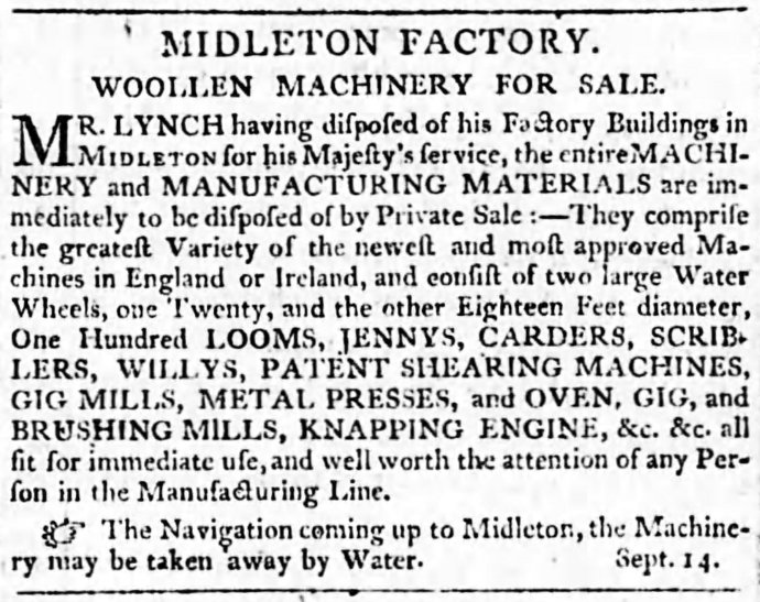 The Advertisement in the Cork Mercantile Chronicle of September 21st 1803 Announcing the Sale of Lynch's Equipment