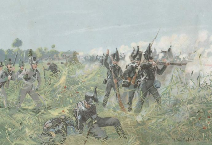 Brunswick Infantry in Action at Quatre Bras, 1815 by Richard Knötel