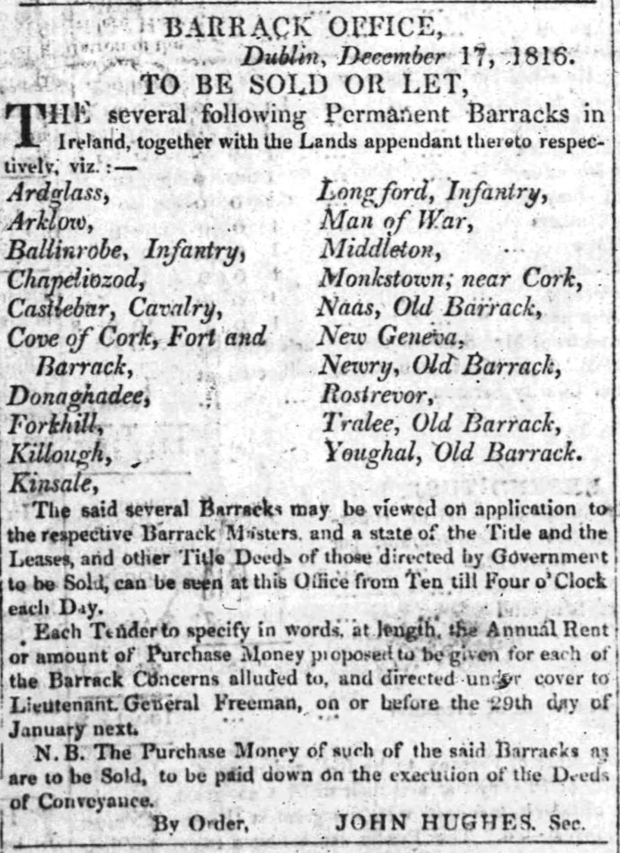 The Freemans Journal of 24th December 1816 which lists the intended sale of Midleton Barracks