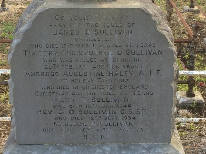 Gunner Ambrose Augustine Haley, Australian Field Artillery