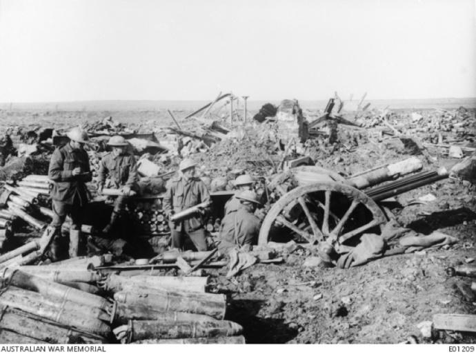 Australian artillery in action in Passchendaele, October 1917 (Australian War Memorial)