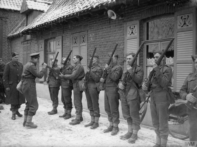 Inspection of men of the 2nd Dorsetshires in France, 1940 © IWM (F 2572)