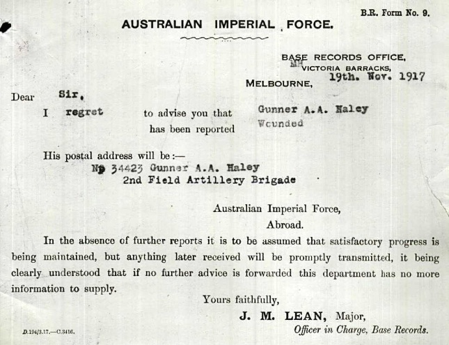 Notification that Ambrose had been wounded in 1917 (Ambrose Haley Service Record)