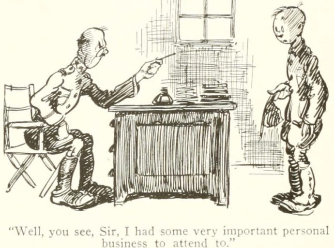 Cartoon accompanying the story of Pat Shea in the History of the 305th Infantry (history of the 305th Infantry)