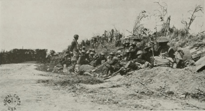 Men of the 77th Division pause during the advance, September 1918